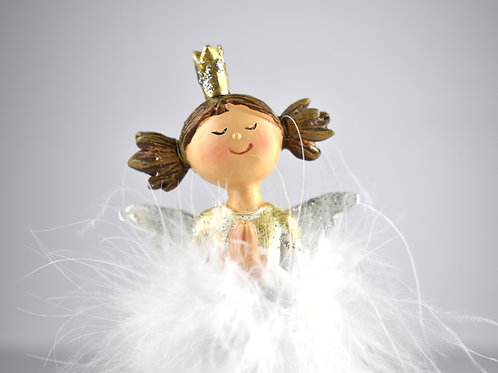Wooden Angel With Feather Dress