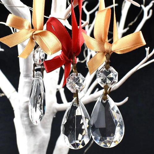 Teardrop Chandelier droplet decorations with organza - set of 5