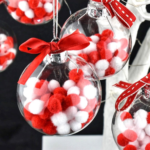 Red and White Pom Pom Baubles - Set of 3