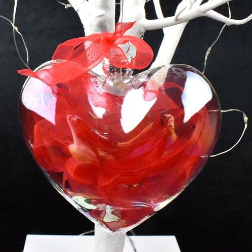 Red Organza Hearts x 3
