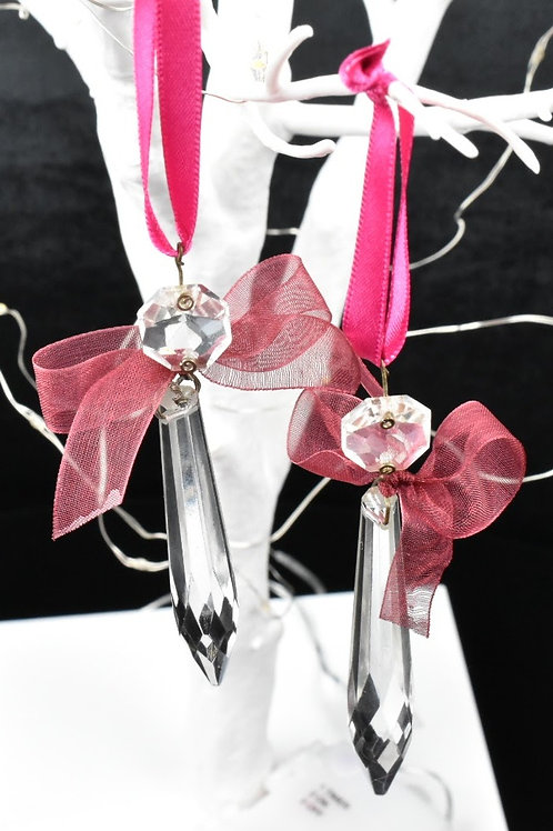 Dusky Pink Chandelier droplet decorations with organza - set of 3