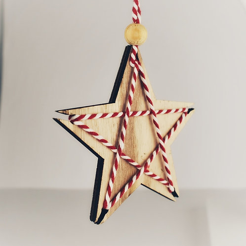 Wooden Star Hanging Decoration