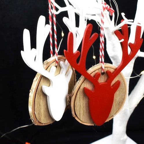 Red and White Reindeer Wooden decorations