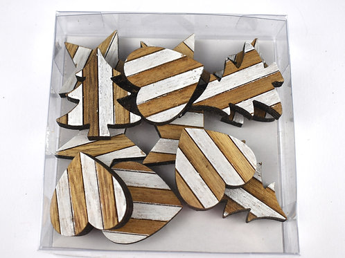 Striped Wooden Tree Heart Star shapes