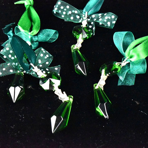 Mini Chandelier droplet decorations with organza - set of 4