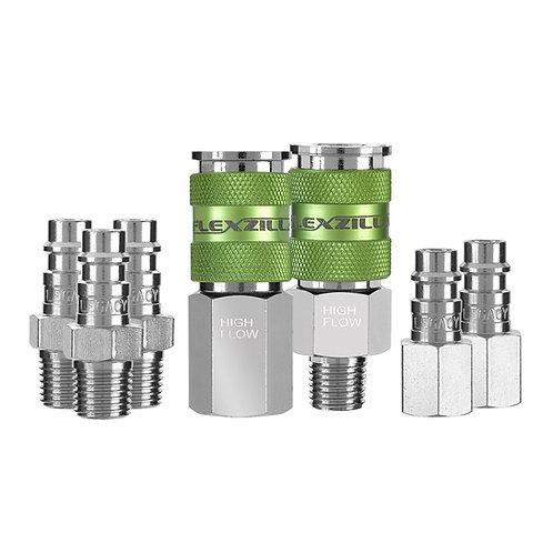 """A53457FZ   Flexzilla® Pro High Flow Coupler and Plug Kit, 1/4"""" NPT, 1/4"""