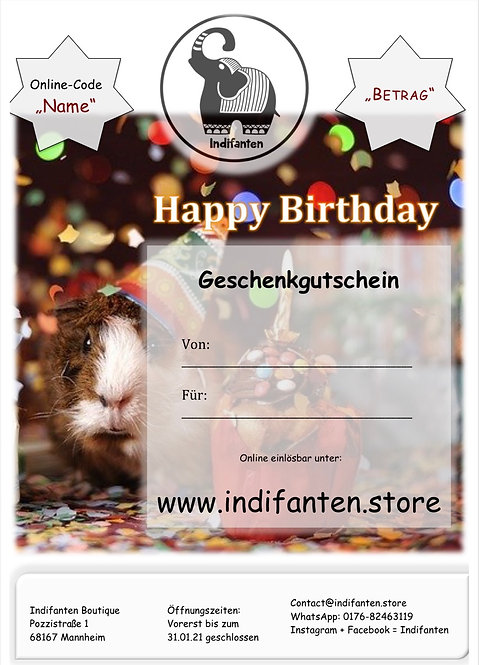 "Digitaler Gutschein ""Happy Birthday"" per PDF"