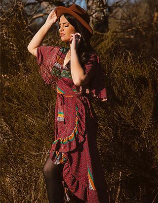 Wickelkleid im Bohostyle aus vintage sari