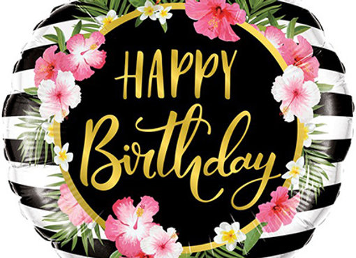 Helium Happy Birthday Tropical stripes