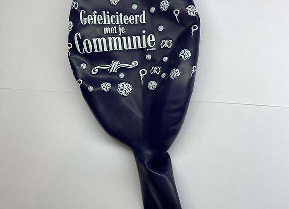 Zak losse ballonnen: Communie bloemetjes donkerblauw