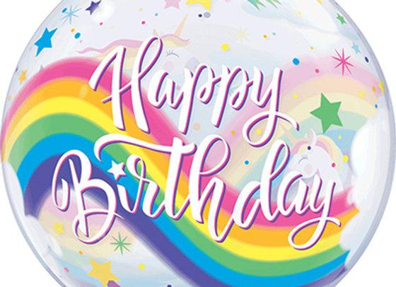 Helium bol Unicorn Happy Birthday