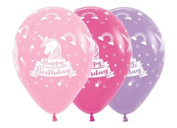 Zak losse ballonnen: Happy birthday unicorn