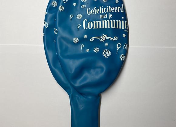 Zak losse ballonnen: Communie bloemetjes blauw