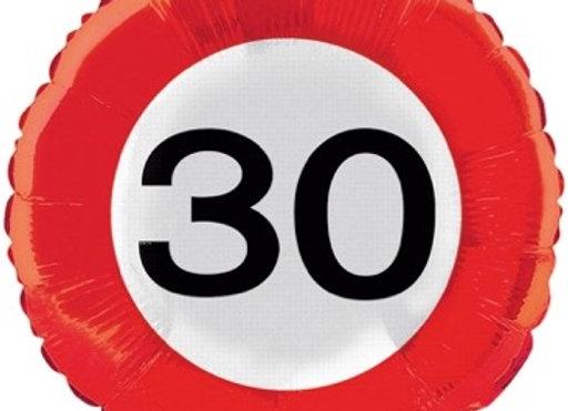 30 verkeersbord folieballon