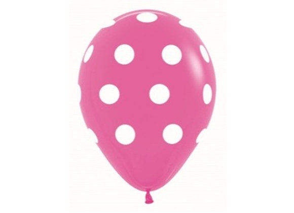 Zak losse ballonnen: Fuschia polka dots