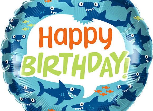 Helium Happy Birthday Sharks