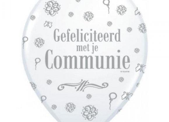 Zak losse ballonnen: Communie bloemetjes wit