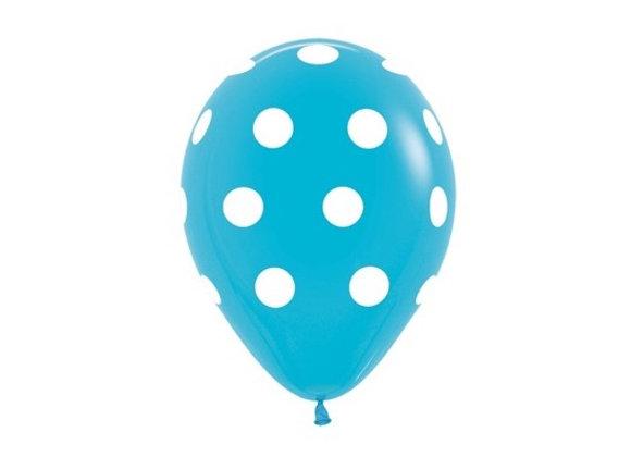 Zak losse ballonnen: Carribean blue polka dots