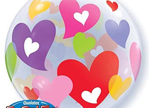 Helium bol gekleurde hartjes