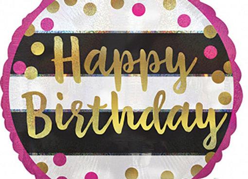 Helium strepen Happy Birthday