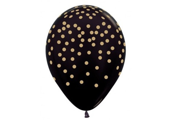 Zak losse ballonnen: Black gold confetti