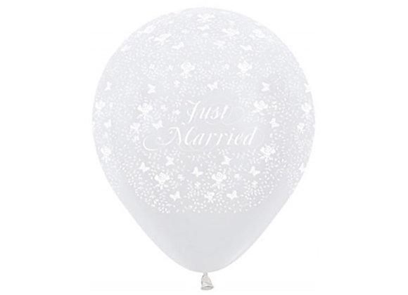 Zak losse ballonnen: Just Married butterflies