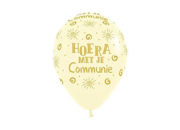 Zak losse ballonnen: Communie hoera geel
