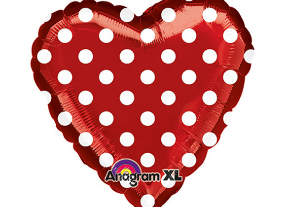 Helium hart polka rood/wit
