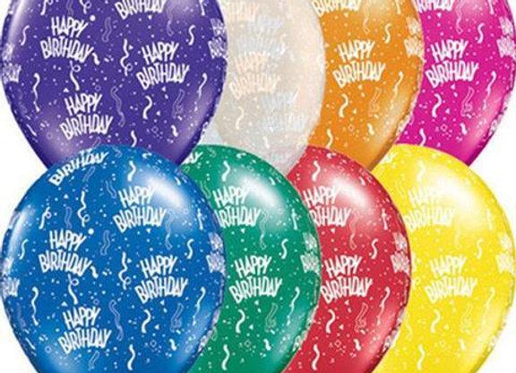 Zak losse ballonnen: Happy birthday assortiment