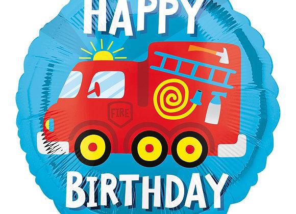 Helium Happy Birthday Brandweerwagen