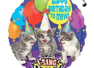 "singing balloon cats ""happy birthday Mew'"