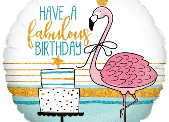 Helium Flamingo Happy Birthday