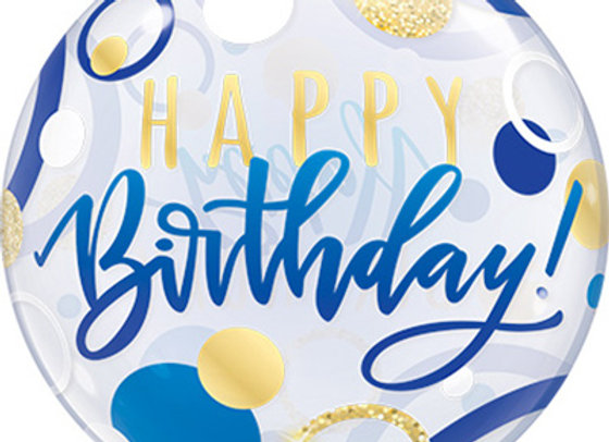 Helium bol bluegold Happy Birthday