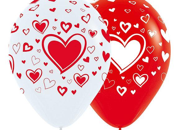 Zak losse ballonnen: Classic hearts