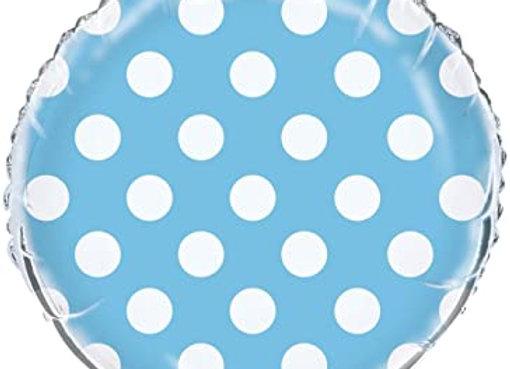 folieballon polka dots licht blauw