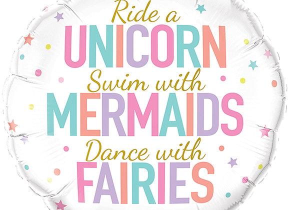 Helium rond Unicorn/Mermaids