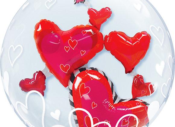 Helium bol dubbel rood hart