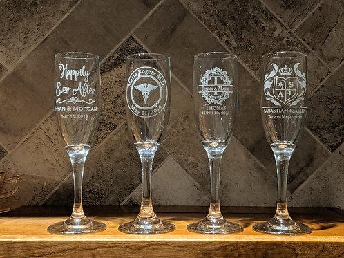 Design Your Own 6 oz Etched Stemmed Flute Glass | Custom Champagne Glasses