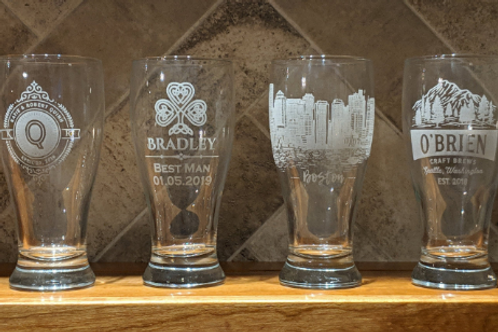 Design Your Own Etched Pilsner Glass | Etched Pub Glasses | Monogram, Business