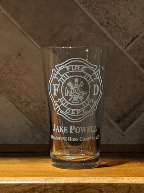 Personalized Firefighter Etched Pint Glass | Custom Fire Department Mug | Volunt
