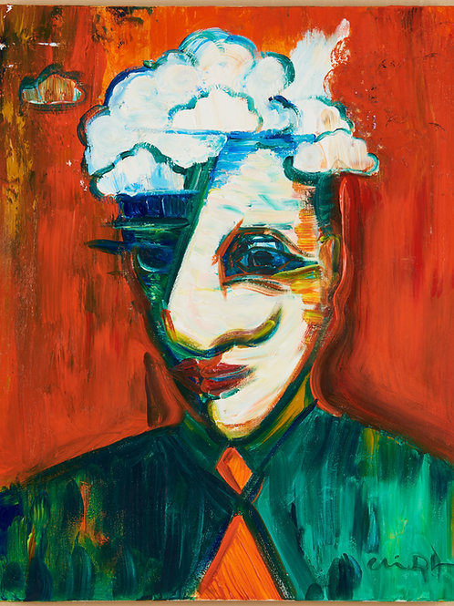 """Man Beset with Clouds"" 24"" x 36"" by Chris Dykstra"