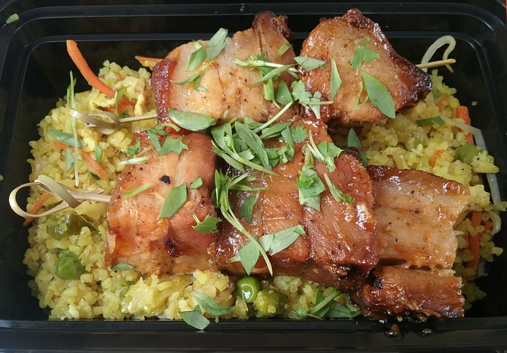 Smoked Pork Belly Burnt Ends with Coconut-Curry Fried Rice