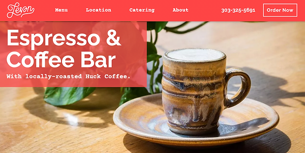 """Screenshot of a hand-made expresso cup and saucer, featured on Leven Deli's """"Espresso & Coffee Bar"""" webpage"""