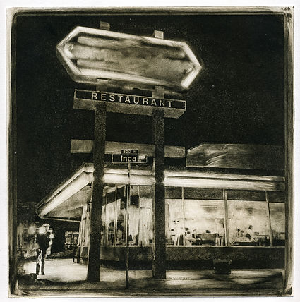 A black and white photo etching of a diner at night, with light coming from inside the diner and the neon sign.