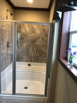 Tile Shower with Glass Enclosure