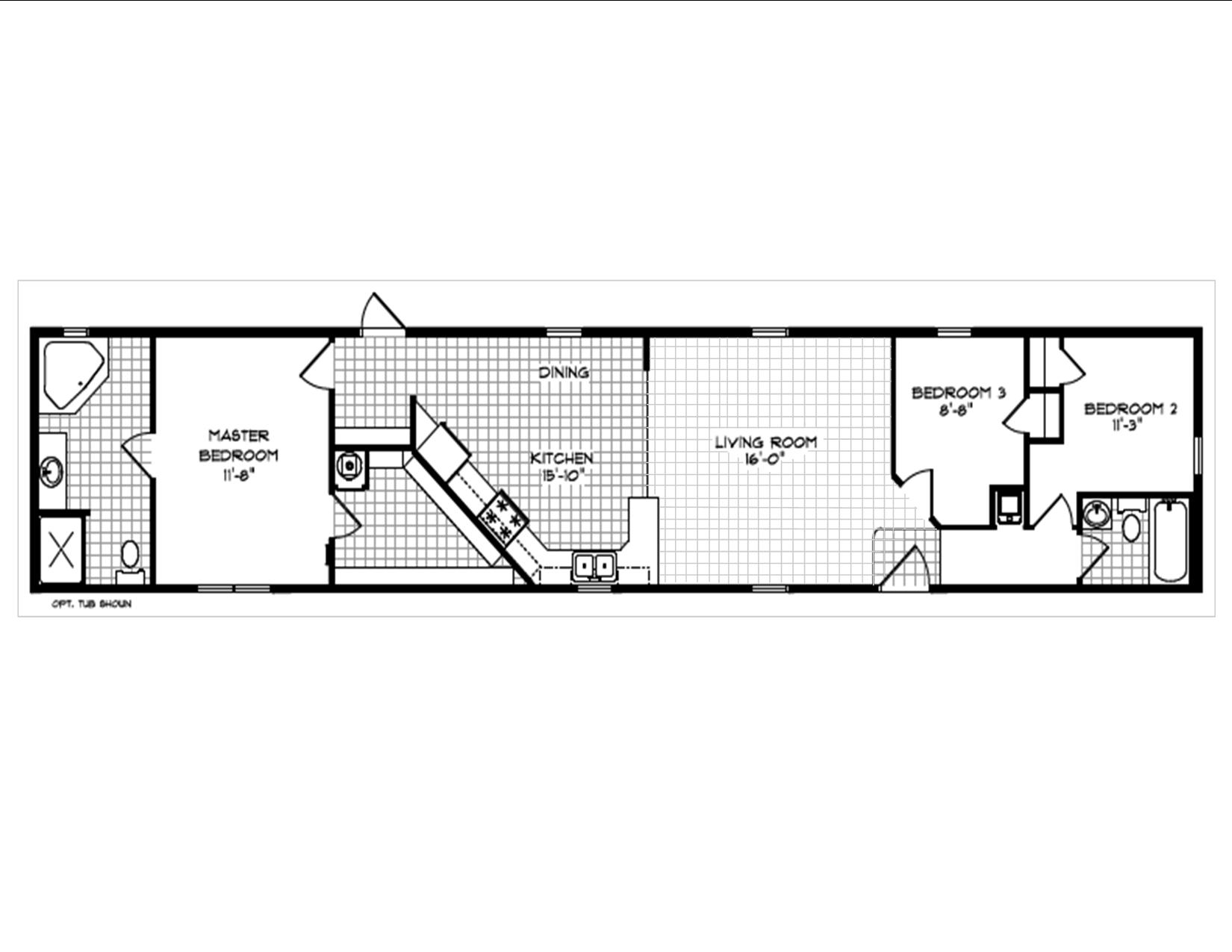 435 MHE Singlewide Floor Plan