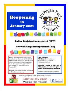 MTU preschool reopening announcement_jan