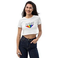 Love Rainbow | White Organic Crop Top