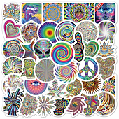 10/30/50PCS Psychedelic Colorful Graffiti Stickers Aesthetics Laptop Guitar Lug