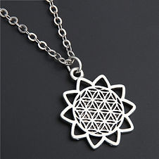1PC Flower of Life Buddhist Necklace Long Chain Seed of Life Sacred Geometry Je